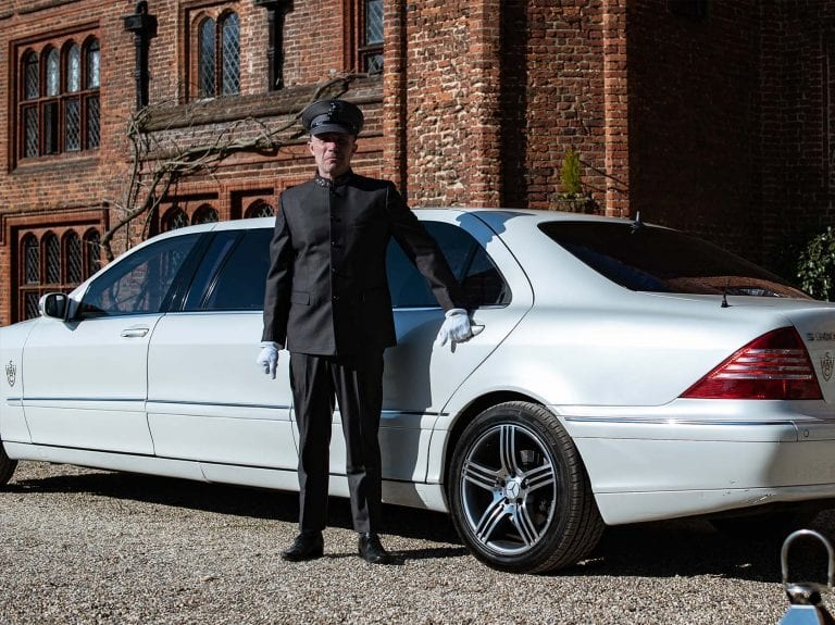 Mercedes S class Pullman wedding car in Suffolk
