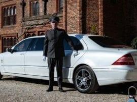 Mercedes S class Pullman wedding car in Suffolk