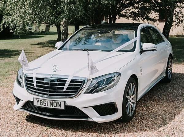 Wedding car hire Suffolk, Stunning White Mercedes S Class S63L AMG to hire via Simons White Wedding Cars