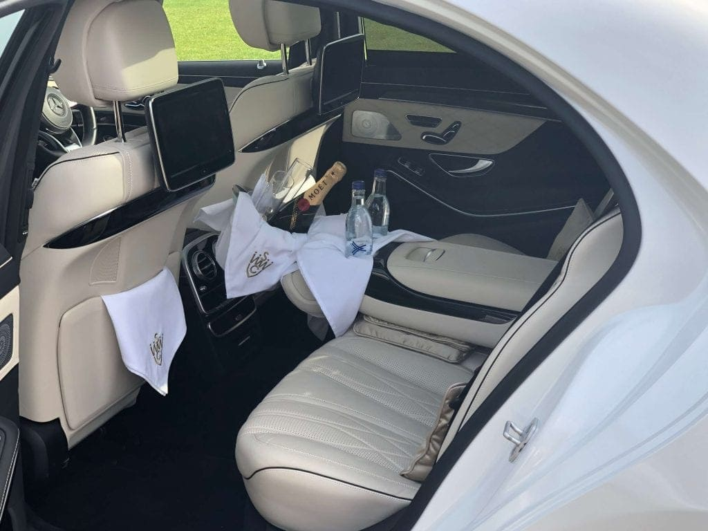 Luxury wedding car interior.