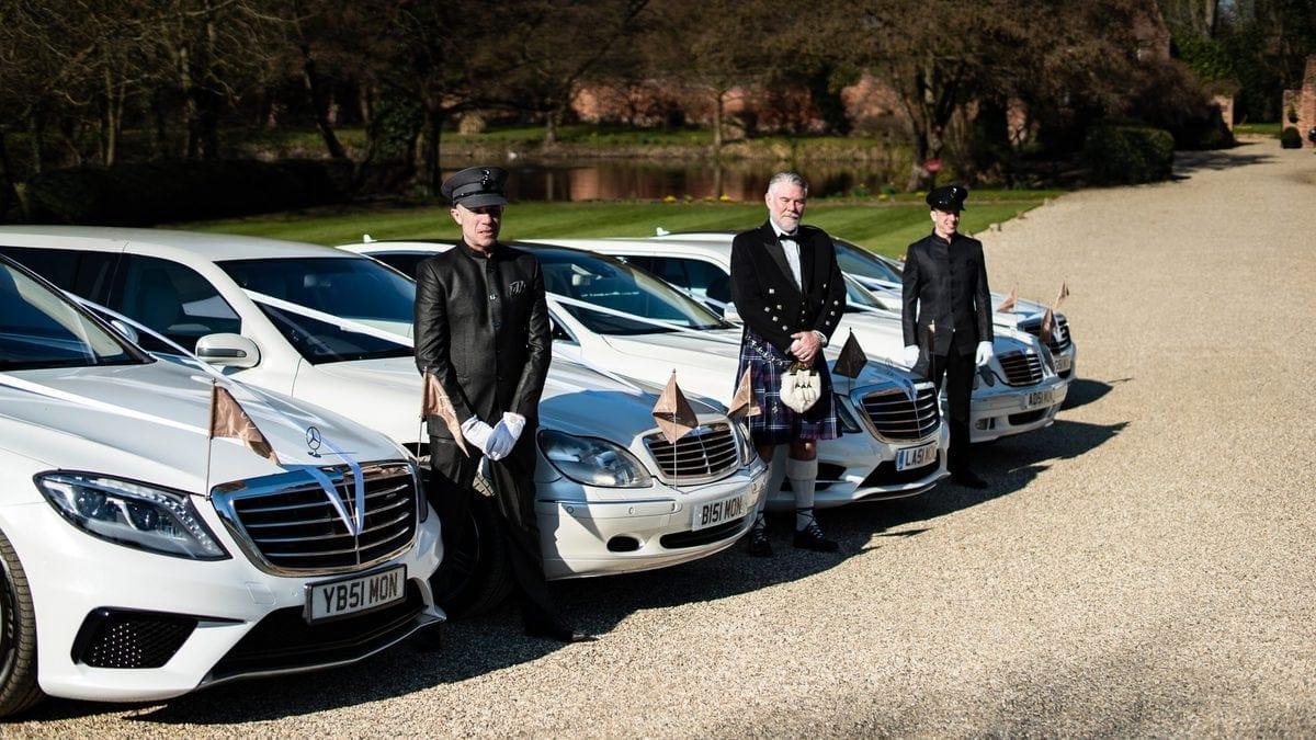 Fleet of wedding cars