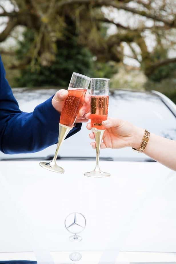 Wedding car hire with Champagne
